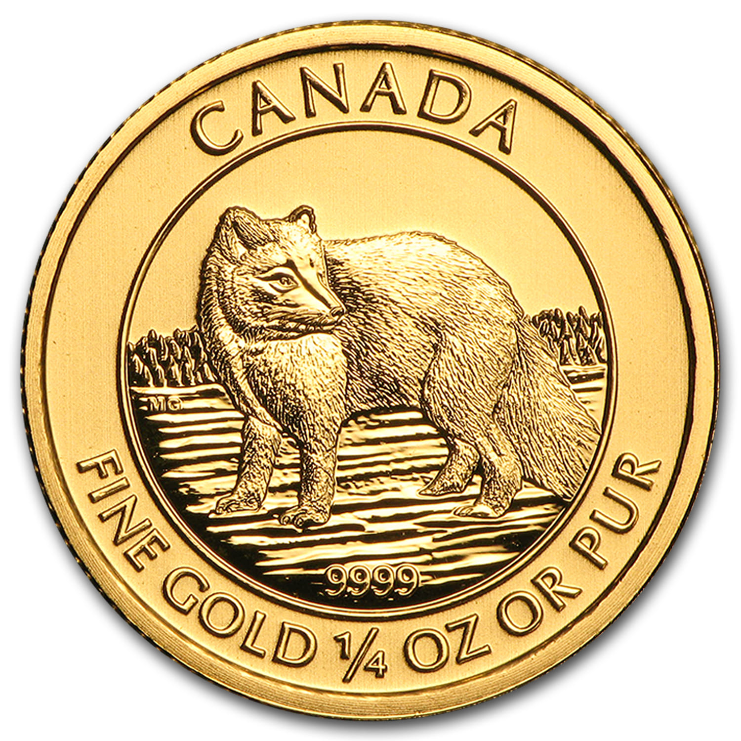 2014 Canada 1/4 oz Gold Arctic Fox BU